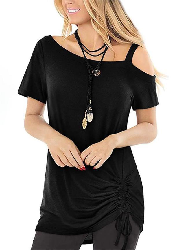 Comfortable Short Sleeve Off-The-Shoulder Drawstring Slim Fit T-Shirt