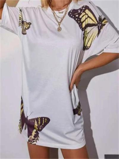 Butterfly Print Round Neck Short-Sleeved Loose T-Shirt