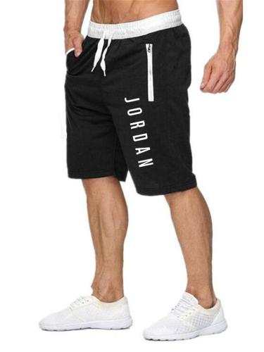 Mens Print Patchwork Drawstring Knee Shorts