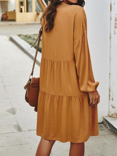 Loose High Waist V-Neck Long-Sleeved Lace-Up Pleated Dress