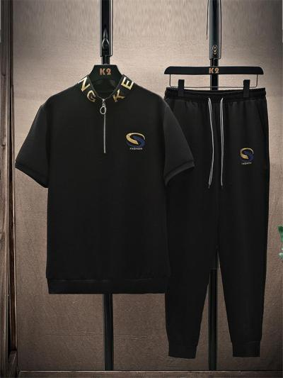 Mens Fashion Print Sports Short Sleeve Shirts+Pants