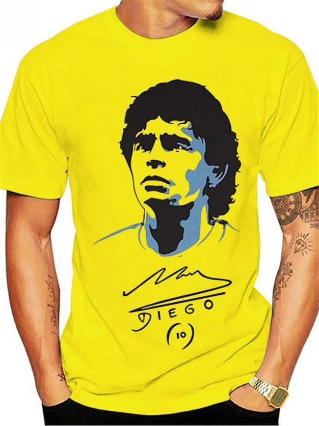 Mens Casual Maradona Print Fashion Short Sleeve T-Shirts