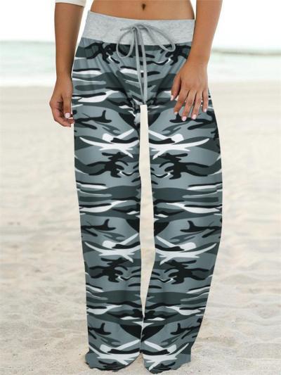 Comfortable Camouflage Print Drawstring Wide-Leg Pants