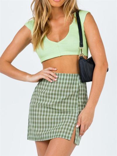 Fashion Plaid Pattern Slit All-Match High Waist Zipper Slim Skirt