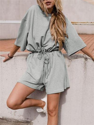 Two-Piece Set Urban Casual Style Comfortable Short-Sleeved Solid Color Top + Drawstring Shorts