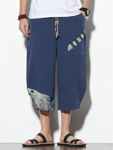 Mens Loose Casual Linen Print Cropped Trousers