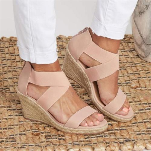 Plus Size Leopard Print Zipper Wedge Heel Sandals