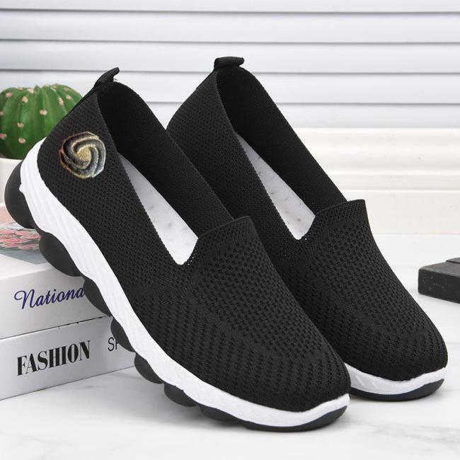 Lightweight And Breathable Solid Color Flat-Heel Mesh Upper Loafers