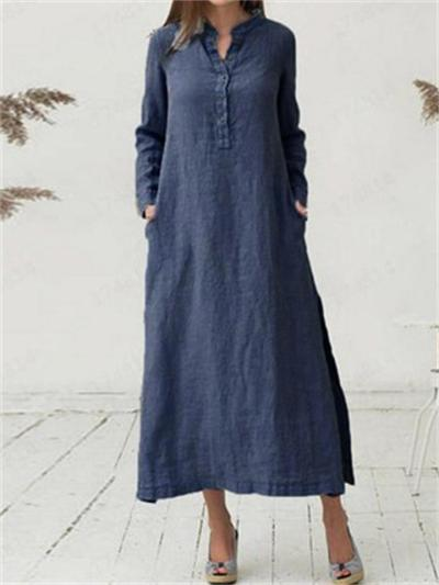 Loose Retro Stand-Up Collar Long-Sleeved Mid-Waist Button A-Line Dress