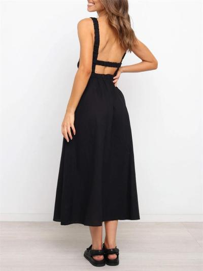 Sexy Solid Color Mid-Waist Sleeveless Backless Dress