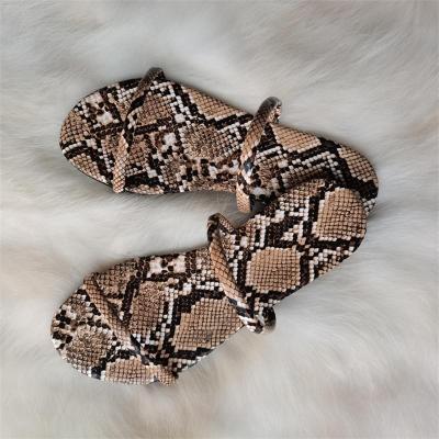 Roman Style Snake-Print And Leopard-Print Lightweight Flat Heel Slippers