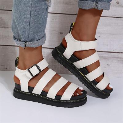 Casual Beach Stripe Buckle Flat Sandals
