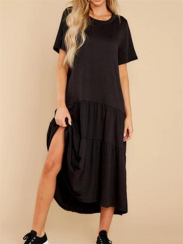 Comfortable Knitted Solid Color Mid-Waist Short-Sleeved Dress