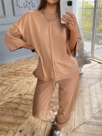 Two-Piece Set Comfortable Mid-Sleeve Solid Color T-Shirt + Lace-Up Pants