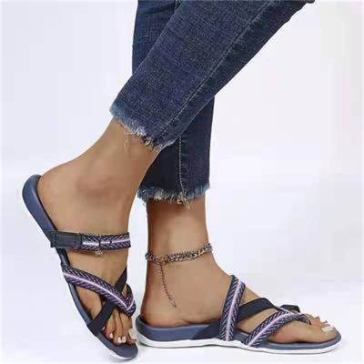 Lightweight Flat Heel Printed Velcro Flip-Flops