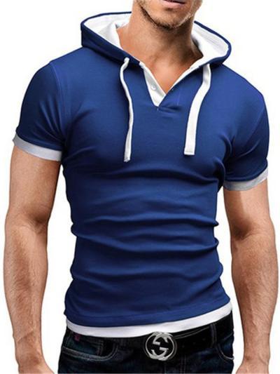 Mens Casual Patchwork Drawstring Short Sleeve T-Shirts