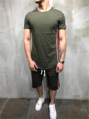 Mens Fashion Hip Hop Patchwork Short Sleeve T-Shirts+Shorts