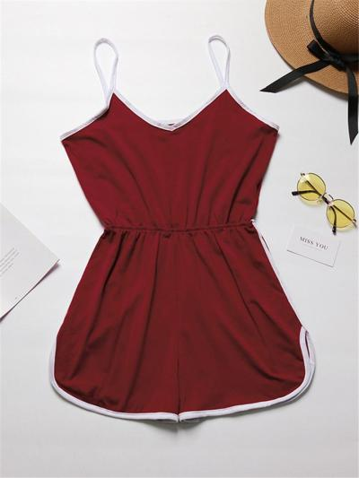 Workout Style Contrast Detailing Scoop Neck Elastic Waist Curved Cuff Spaghetti Strap Playsuit