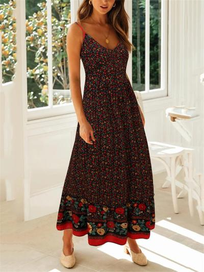 All-Over Floral Print Fitted Waist Pullover Pleated Detailing Spaghetti Strap Dress