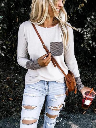Straight Hem Chest Pocket Patchwork Long Sleeve Pullover Lightweight T-Shirt