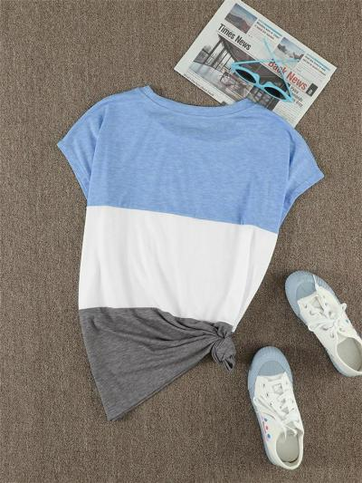Relaxed Shape Round Neck Contrasting Color Chest Pocket Short Sleeve Pullover T-Shirt