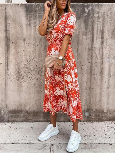 Flowy Pretty All-Over Floral Print Short Sleeve Fitted Waist Button Fastening Side Slit Dress