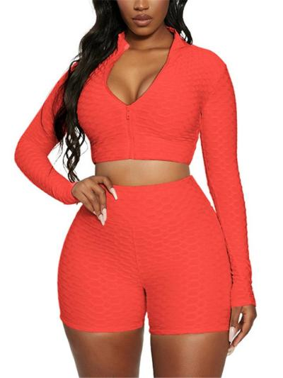 Workout Two-Piece Set Honeycomb Detailing Slightly-Stretch Cropped Top + Fitted Shorts
