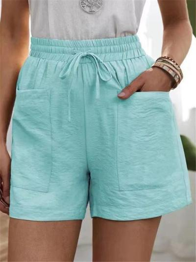 Straight Silhouette Drawstring Elasticated Waistband High-Rise Patch Pocket Linen Shorts