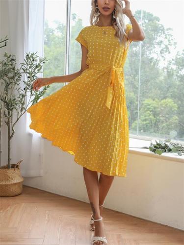 Flowy Short Sleeve Knee-Length Round Neck Tie Waist Polka Dot Lightweight Dress
