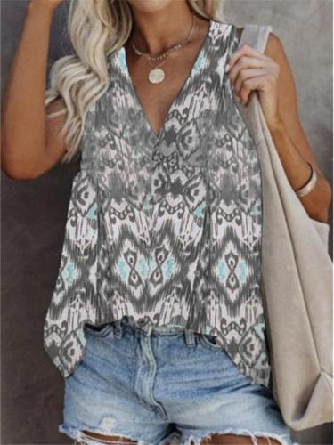 Loose Fit V Neck Sleeveless Floral Print Pullover Lightweight Tank Top