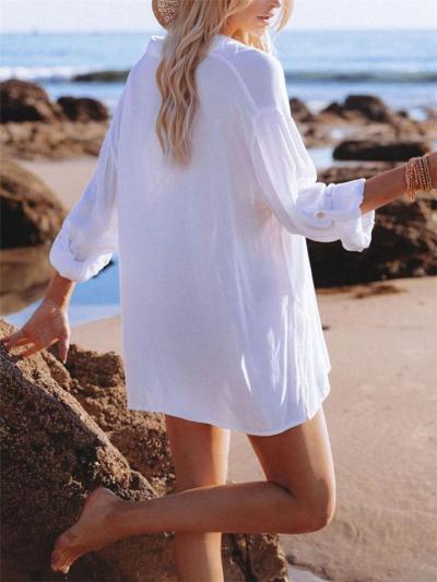 Crease Detailing Side Slit Straight Hem Button-Fastening Classic Collar Beach Blouse
