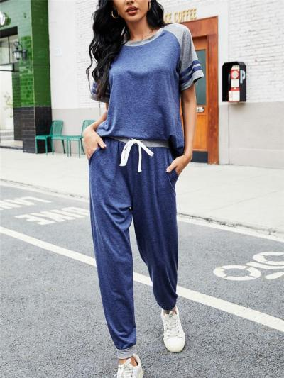Workout 2-Piece Set Round Neck Contrasting Striped T-Shirt + Elasticated Cuff Drawstring Pants