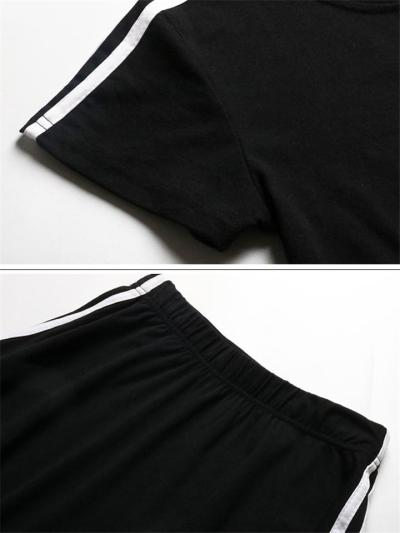 Workout Style 2-Piece Set Round Neck Striped Print Cropped Top + Elasticated Waistband Flare Skirt