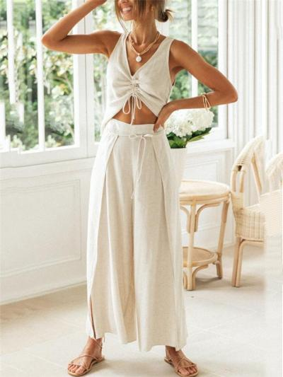 Relaxed Fit 2-Piece Set V Neck Front Drawstring Cropped Top +Crease Wide-Leg Pants