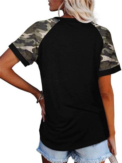 Casual Style Round Neck Camouflage Print Patchwork Straight Hem T-Shirt