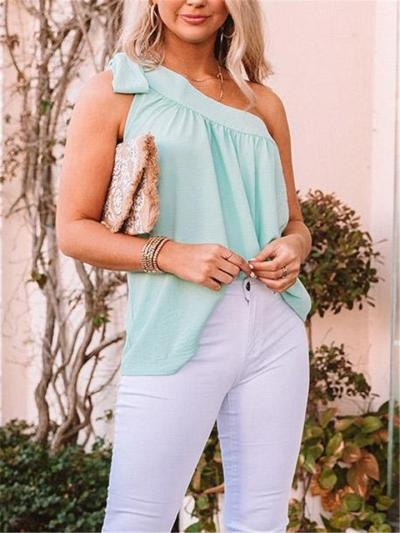 Sexy Pretty Tied Shoulder Asymmetric Design Pleated Detailing Pullover Tops