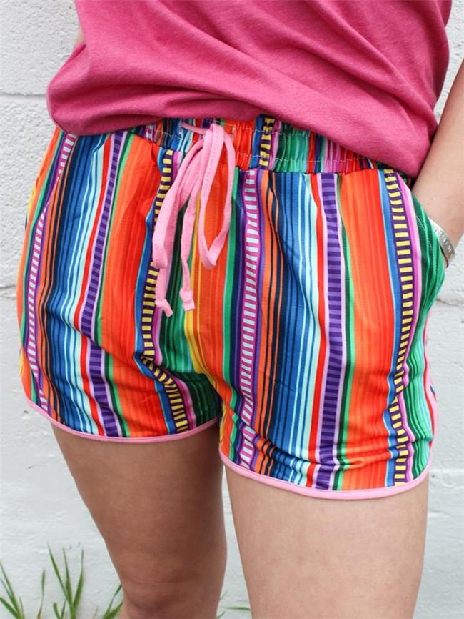 Casual Style Abstract Print Elasticated Drawstring Waistband Curved Hem Workout Shorts