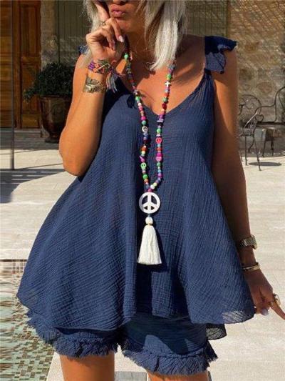 Soft Cotton 2-Piece Set V Neck Sleeveless Flared Style Top + Ruffled Hem Shorts