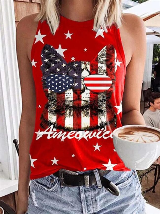 Regular Fit Casual Style Crew Neck Graphic Print Sleeveless Pullover Tank Top