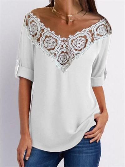Relaxed Fit V Neck Floral Lace Cutout Detailing Rolling Up 3/4 Sleeve Pullover Top