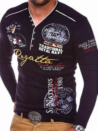 Mens Casual Sports Slim Fit Print Long Sleeve T-Shirts