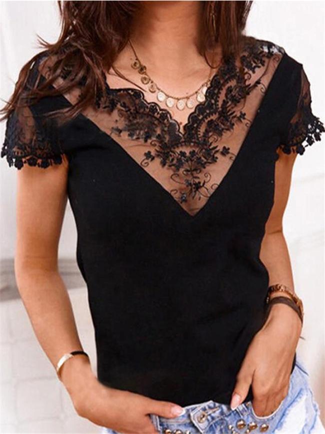 Slim Fit V Neck Floral Lace Patchwork V Neck Lightweight Short Sleeve Top