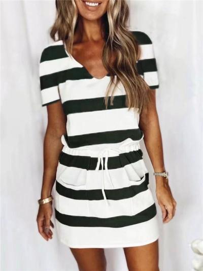 Relaxed Shape V Neck Contrast Striped Print Short Sleeve Drawstring Waist Pocket Dress