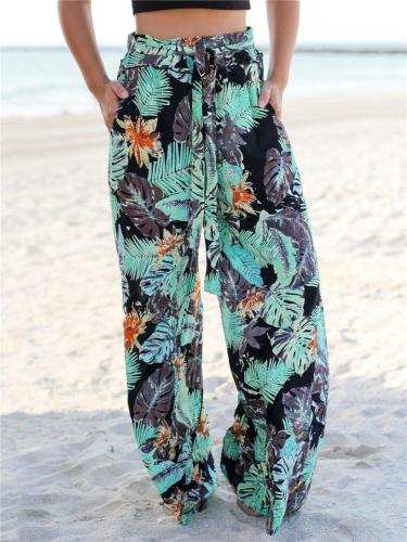 High-Rise All-Over Vibrant Floral Print Pocket Drawstring Straight Wide Leg Pants