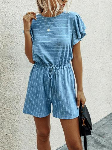 Super Comfy Striped All-Over Print Ruffled Cap Sleeve Drawstring Fitted Waist Rompers