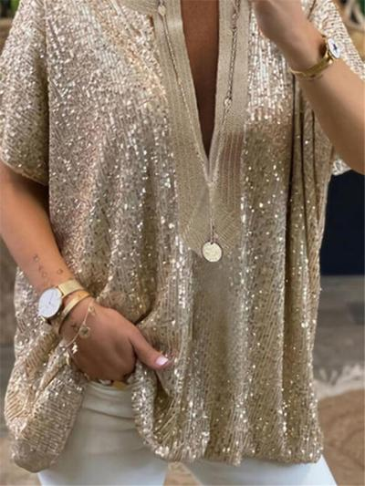 Loose Fit Casual Notched Plunging V Neck Short Sleeve Sequined Pullover Tops