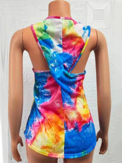 Casual Style Round Neck Multicolor Tie-Dyed Design Back Twist Knot Detailing Tank Top