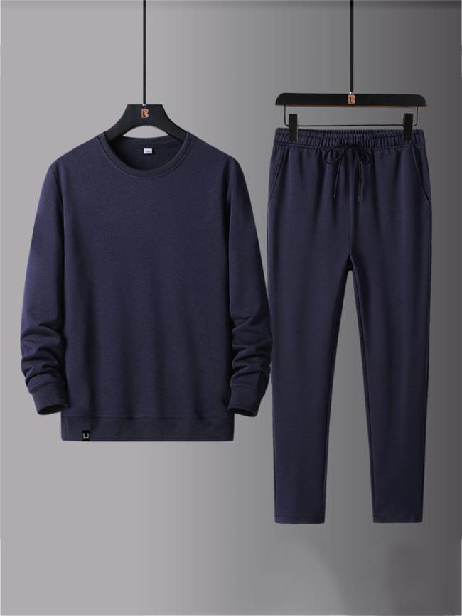 Workout Comfy Plain Long Sleeved Shirts+Pants