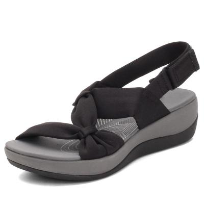 Leisure Style Open-Toe Front Bowknot Slingback Soft Footbed Wedge Sole Sandals