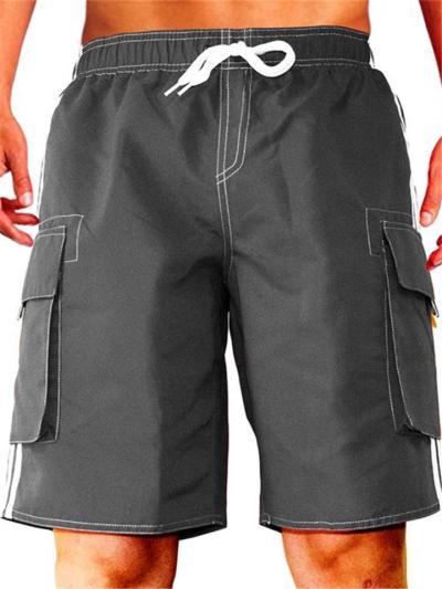 Loose Outdoor Stitching Drawstring Elastic Waist Knee Shorts